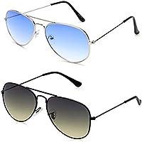Sheomy Combo Of Black Aviator Sunglasses And Sheomy Blue Aviator Sunglasses Pair - With 2 Boxes