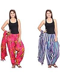 Rama Set Of 2 Printed Purple & Pink Colour Cotton Full Patiala With Dupatta Set