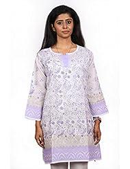Lucknow Chikan Hand Embroidery A LINE KURTA - B00L7T7GV4