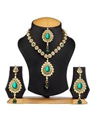 Ethnic Jewels Green Alloy Jewellery Set For Women