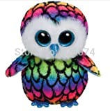 New Original TY Beanie Boos Big Eyes Stuffed Animals Aria Multicolor Owl Plush Toys For Children Gifts Kids Toys 15CM