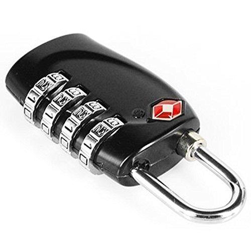 2 x TSA Sicherheit Zahlenschloss - 4-Ziffern Kombination Reisekoffer - Reisetasche - Gepäckschloss - Vorhängeschloss (SCHWARZ) - LEBENSLANGE GARANTIE - 4