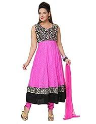 Divinee Pink Chantelle Net And Velvet Readymade Anarkali Suit