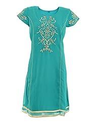 Abhilasha Women's Green Slight Flair Kurti