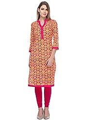 We-Desi Red Printed Kurta