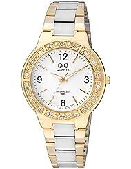Q&Q Analog White Dial Designer Dual Color-Metal Watch For Women-Q901N404Y