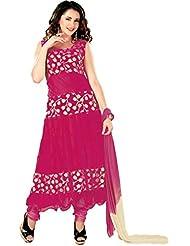 Suchi Fashion Pink Net And Brasso Net Anarkali Suit. Top Stitched, Bottom Unstitched.