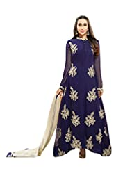Aarti Saree Trendy Fashionable Blue Dress With Bottom And And Fashionable Embroidery On Front Pannel