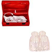 Silver Plated Duck Tray With Spoon And Silver Plated 4 Premium Doted Glass Set With Rectangle Tray