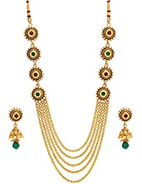Bindhani® Traditional Gold Plated Multi Strand Kundan & Pearl Necklace & Jhumki Earrings Set For Women