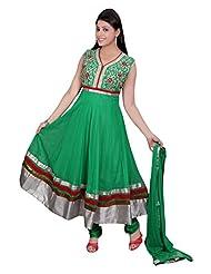 Divinee Green Net Readymade Anarkali Suit - B0136DNCWU