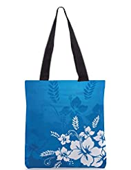 Snoogg Abstract Vector Wallpaper Of Floral Themes In Blue Designer Poly Canvas Tote Bag