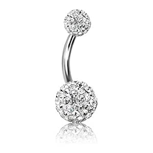 14G Swarovski Crystal Belly Button Navel Ring Bling Surgical Steel Body Piercing Jewelry+ 1 Free Belly Retainer