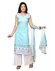 Olive Green Cotton Straight Salwar Kameez For Ladies