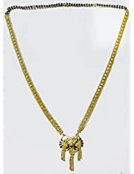 DollsofIndia Gold Plated Mangalsutra With Laquered Peacock Pendant - Metal And Stone - Black