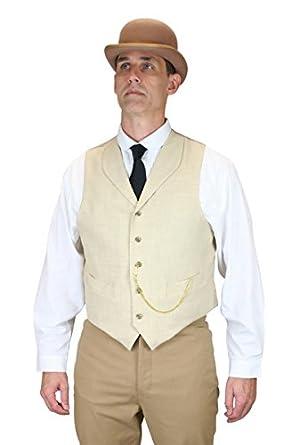 Victorian Men's Vests and Waistcoats Thatcher Linen Vest $59.95 AT vintagedancer.com
