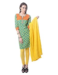 Saving Tree Suite Green Base Kurta With Contrast Yoke, Matching Legging And Dupatta