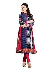 Nirali Women's Cotton Silk Salwar Kameez Unstiched Dress Material - Free Size (Blue)
