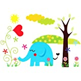 Baby Kids Room Cute Cartoon Jungle Animals DIY Removable Wall Sticker Decal Kid Nursery Home Art Decoration (Elephant)