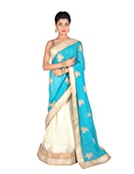 Ctc Mall Firozi & Cream Faux Georgette And Net Saree
