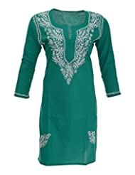 Aashvi's Women's Cotton Round Neck Kurti (ASH/K/43/DZC/05/015, Green And White, Large)