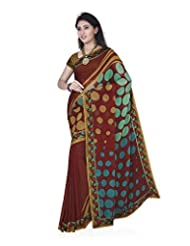 Aadarshini Women's Faux Georgette Saree (1068, Red And Yellow)