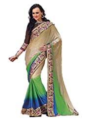 AG Lifestyle Beige Jacquared Saree With Unstitched Blouse ASL810