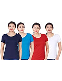 Fleximaa Women's Cotton Round Neck T-Shirt Plain (Pack Of 4) - White, Red, Blue & Navy Blue Colors.