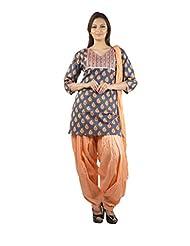 Rama Set Of Blue-Peach Coloror Printed Kurti With Peach Color Duppatta & Patiala