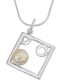 Surat Diamonds Square Shaped Real Pearl And Sterling Silver Pendant With Silver Finished Chain For Girls (SDS79)