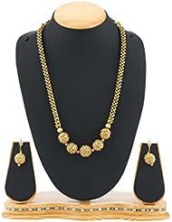 Satyam Jewellery Nx Antique Golden Necklace Set For Women Jewellery