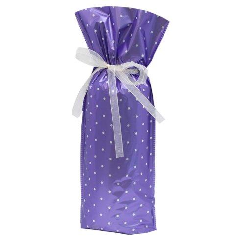 5-Piece Wine/Bottle Drawstring Gift Bags, Purple Polka Dot