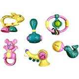 Non Toxic Rattle Set Of 6 Pieces For Infants & Toddlers - Multi Color With Carry Bag