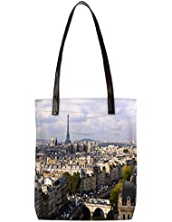 Snoogg Paris Womens Digitally Printed Utility Tote Bag Handbag Made Of Poly Canvas With Leather Handle