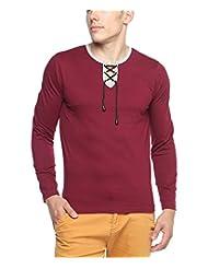 Hot Pepper Men's Cotton - Rope Neck T-shirt - Full Sleeve - Maroon