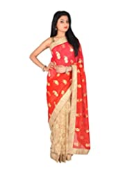 Ctc Mall Red & Gold Faux Georgette Saree With Kundan , Zari & Thread Work