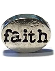 Faith Silver Toned Word Disc Charm For Floating Lockets - Old School Geekery Brand Locket Charms - Religious Inspirational...