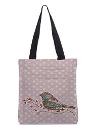 Snoogg Bird Grunge Poly Canvas Tote Bag