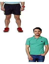 Abloom Men's Shorts & T-shirt Combo ( Navy Green & Green )