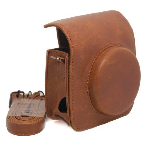 CAIUL Vintga PU Leather fuji mini case for Fujifilm Instax Mini 90 Case bag----Brown