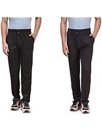 Alfa Active Black & D.Grey Cotton Track Pants (Pack Of 2)