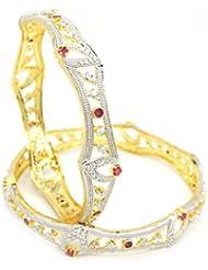 ESHOPITUDE CZ AMERICAN DIAMOND RUBY GOLD PLATED BANGLES SET RAKHI FESTIVAL DESIGN FOR WOMEN SIZE 2.6