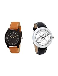 Gledati Men's Black Dial & Foster's Women's White Dial Analog Watch Combo_ADCOMB0002061