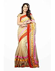 Dancing Girl Beautiful Peach Net Saree