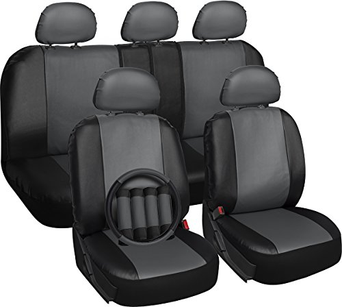 Oxgord 17pc Set Faux Leather / Gray & Black Auto Seat Covers Set – Airbag Compatible – 50/50 or 60/40 Rear Split Bench – 5 Head Rests – Universal Fit for Car, Truck, or SUV – FREE Steering Wheel Cover