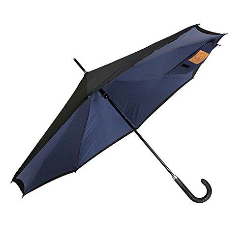 【Carry saKASA (キャリーサカサ) City Model 】逆折り式傘 逆さまの傘 逆さ傘 濡れない 長傘 Teflon認証 撥水コーティング (インディゴ+ブラック)