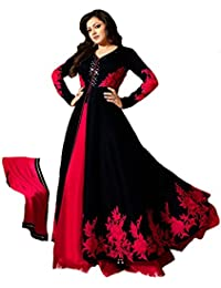 Royal Export Women's Bangalori Black & Red Anarkali Semi-Stitched Salwar Suit