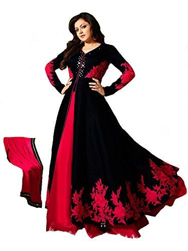 Royal Export Women's Bangalori Black & Red Anarkali Semi-Stitched Salwar Suit