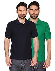 Blacksmith Paris Green & Sailor Navy Mens Luxury Combed Cotton Polo Tshirt Combo