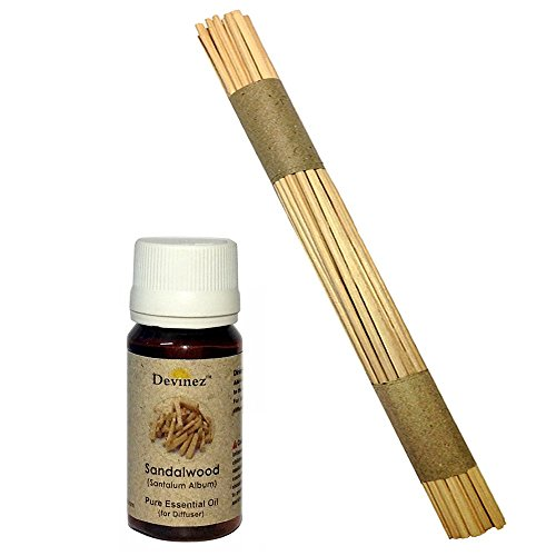 Devinez Premium Reed Sticks/ Refill Pack For Reed Diffusers 10 Inches (30 Sticks) With Free 15ml Sandalwood Oil...